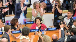 核兵器禁止条約の国連での採択後の演説【サーロー節子さん】もし地球に未来があるとしたら、こういう人たちのおかげ